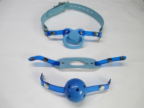 Sky Blue Leather Changeable Front Paci/Breathable ball/Insert Gag